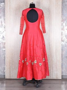 Tomato Red Dressy Long Anarkali Suit