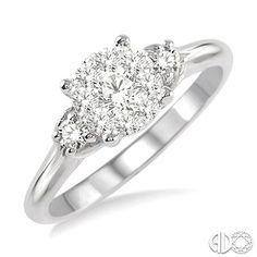 3/8 Ctw Round Cut Diamond Engagement Ring in 14K White Gold