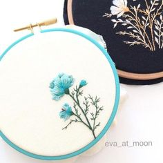 I got a new color hoop. It's like spring! I love it! Hello~March!!!. #embroidery #embroideryart #embroideryhoop #needlework #needleandthread #threadpainting #flowers #cosmohoop #cosmo #dmcthreads #dmc #designedbyeva #drawingforembroidery #mint #march #color #handmade #craft #creating #inspiration #eva_at_moon
