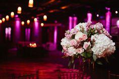 rose and hydrangea centerpiece.