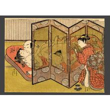 Isoda Koryusai: A girl getting aroused while spying on a couple making love through a screen. - The Art of Japan