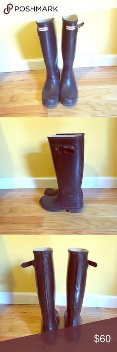Hunter Boots Have been worn, straps are distressed on the sides which is the only reason the price is so low. Still keep your feet dry and look classy! Hunter Boots Shoes Winter & Rain Boots