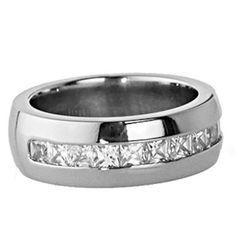 New Titanium Princess Cubic Zirconia White Gold Color Men's Wedding Ring Sz 8