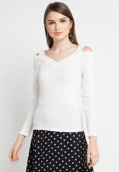 Mineola Knit Off Shoulder White