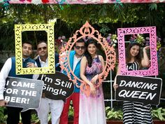 When the bride goes on a hunt to specifically look for coral colored chooras to match her lehenga, you know she is a stickler for details .and the details are evident in this palace wedding! Starting with a funky champagne. Wedding Photo Booth, Wedding Props, Indian Wedding Decorations, Pre Wedding Photoshoot, Wedding Stage, Wedding Couples, Stage Decorations, Wedding Ideas, Indian Wedding Photography Poses