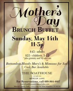 We still have availability for you & your family to celebrate Mother's Day with us! Brunch with a view is --- For reservations: --- Mother's Day Brunch Buffet, Mercer County, Mothers Day Brunch, County Park, Boathouse, Bloody Mary, How To Plan, Spring, Instagram Posts