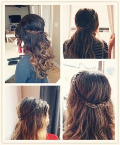 easy braided crown for 2013 with clip on brown colored hair extensions