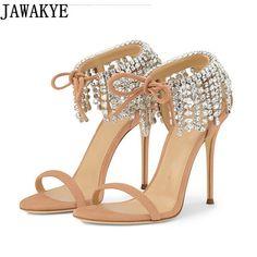 ad9f7b518f4 Barato Sandálias Gladiador Das Mulheres do miúdo clássico camurça strass  Sapatos De Salto Alto Sapatos de