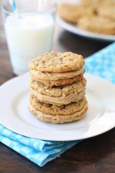 Peanut Butter Oatmeal Sandwich Cookies Recipe on http://twopeasandtheirpod.com. Always a favorite! #cookies