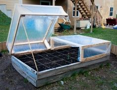 Inexpensive Cold Frame by bettye; instead of glass windows use plastic & 2x4s.