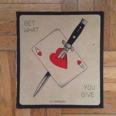 #coltello #knife #carta #card #asso #ace #cuori #hearts #traditional #tattoo #flash #simonemariotti