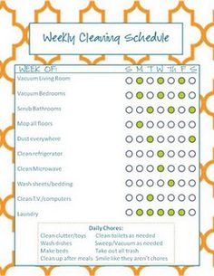 Monthly and Cleaning Schedule