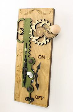 Single Rack and Pinion Light Switch Plate - Earth Tone Colors. $39.95, via Etsy.