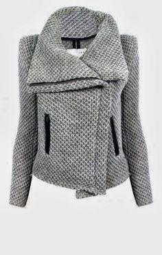 Grey Color Ladies Warm Jacket Inspiration