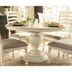 """Pedestal Dining Table with 18"""" Leaf 