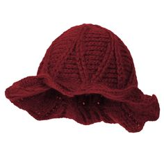 300c4323730 ililily Ribbed Pattern Knitted Floppy Round Top Wired Fedora Feminine  Bucket Hat Red     Check out this great product.(It is Amazon affiliate  link)   ...