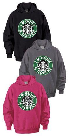 """""""I Love Guns & Coffee"""" Hooded Sweatshirt Sizes SM-4XL"""