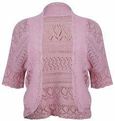 PurpleHanger Women's Plus Size Knitted Bolero Shrug Cardigan Baby Pink 10