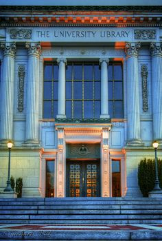 The University Library (by cycomachead) aka Doe Library. my sanctuary in UC Berkeley. Berkeley California, Northern California, Berkeley Campus, Berkeley Library, University Architecture, College Aesthetic, Dream School, College Life, Bay Area
