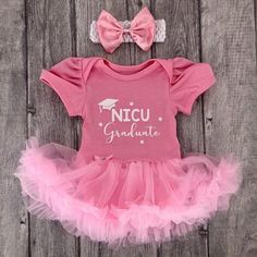 inktastic NICU Graduate Girls Floral Wreath Infant Tutu Bodysuit 18 Months Pink