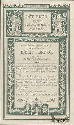 A0043 Muzeum cennych papiru / BANKA ČESKOSLOVENSKÝCH LEGIÍ ( Bank der Tschechoslowakischen Legionen ), akcie na jméno 1 000 Kč ( 5 Aktien x 200 Kč ) Praha 19.7.1921