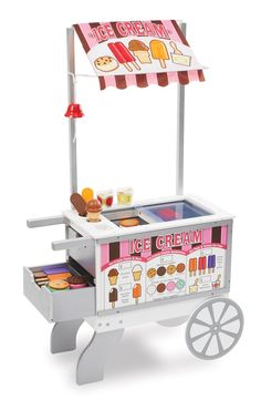 Amazon.com: Melissa & Doug Wooden Snacks and Sweets Food Cart - 40+ Play Food pcs, Reversible Awning: Melissa & Doug: Toys & Games