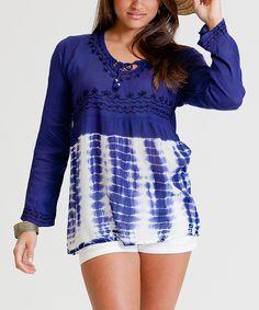 Look at this #zulilyfind! Blue Tie-Dye Peasant Tunic by La Moda Clothing #zulilyfinds