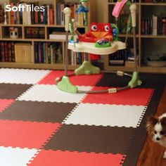 Stylish Children's Playroom Floor using solid SoftTiles Brown, Red, and White Foam Mats- Playroom Flooring, Foam Flooring, Playroom Decor, Playroom Ideas, Nursery Ideas, Kids Play Area, Kids Room, Front Rooms, Toy Rooms