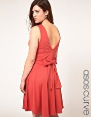 ASOS CURVE Exclusive Skater Dress with Bow Back