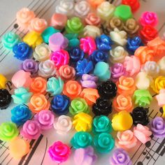 100 Pc. Tiny Resin Rose Flower Cabochons 7.5 mm by SoloSupplies