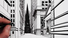 How to Draw a 1-Point Perspective Street: Draw Wall Street Buildings