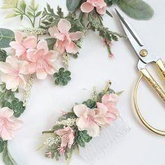 Blush Bridesmaids Combs Blush Wedding Sets by OhDinaFlowerCrowns