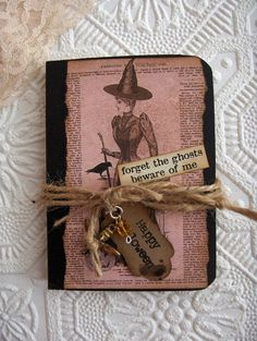 Witches Journal/Notebook Victorian/Goth Witch/Spellbook/Halloween Altered Composition Notebook Vintage Elements