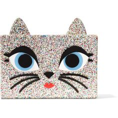Karl Lagerfeld Choupette embellished glittered acrylic box clutch ($215) ❤ liked on Polyvore featuring bags, handbags, clutches, gold, lucite purse, colorful clutches, hardcase clutch, lucite box clutch and white handbag