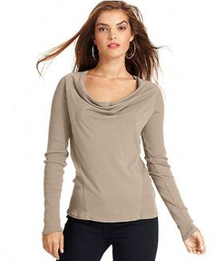 Lucky Brand Jeans, Three-Quarter Scoop-Neck Striped Henley Top ...