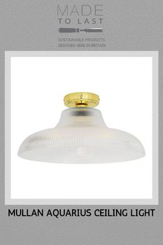 The Aquarius ceiling light like the Aquarius, is a traditional bathroom ceiling light that features a distinctive and vintage-style railway glass lamp shade. Modern Flush Ceiling Lights, Bathroom Ceiling Light, Vintage Style, Vintage Fashion, Traditional Bathroom, Sustainable Design, Industrial Style, Aquarius, Inspired