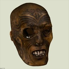 This ancient mummified Maori head still bears his tattoos! Amazing how well-preserved this facial art is.
