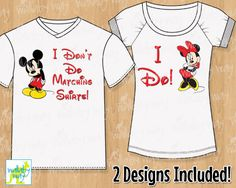 I Don't Do Matching Shirts Mickey & Minnie Mouse Printable Iron On Transfer or Use as Clip Art - DIY Disney Shirts - 2 Matching Designs by TheWallabyWay on Etsy https://www.etsy.com/listing/235237315/i-dont-do-matching-shirts-mickey-minnie