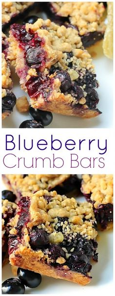 Easy Homemade Blueberry Crumb Bars! A buttery crust topped with TONS of berries and a buttery crumb. YUMMY!