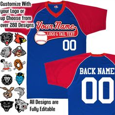 Navy Blue, Scarlet Red and White Personalized Baseball Jersey with Your Team, Player Name and Numbers Custom Baseball Logo Purple And Black, Navy And White, Navy Blue, Toddler Football, Team Mascots, Custom Football, Royal Red, Columbia Blue, Baseball Jerseys
