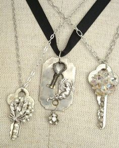 Recycled keys and costume jewelry