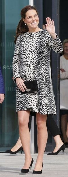 <p>Kate visited the seaside town of Margate in a Hobbs dalmatian print coat. As usual, she carried her trusty Mulberry clutch and wore black Stuart Weitzman heels. </p><p><i>[Photo: PA]</i></p>