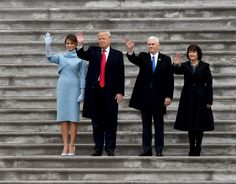 First Lady Melania Trump, US President Donald Trump, Vice President Mike Pence and Karen wave goodbye to the Obama's.