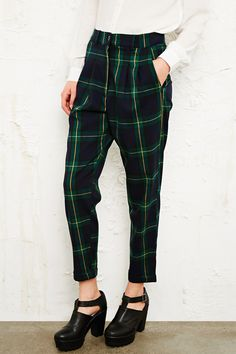 Vintage O&O Tartan Trousers in Navy at Urban Outfitters