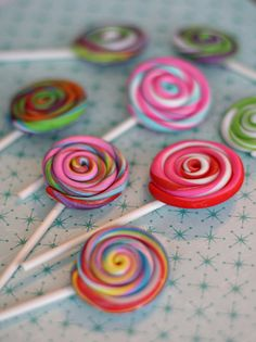 Lollipop Fondant Toppers on a Stick