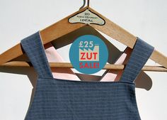Grey pinstripe Japanese apron made of 1940s vintage French cotton fabric by ZUTusine on Etsy