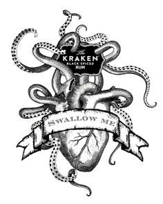Eat your heart out, scary ghouls and goblins of October. Today is Kraken day! Oh how I'd love to see a Kraken v. Octopus Hearts, Kraken Tattoo, Kraken Rum, Release The Kraken, Petit Tattoo, Tatuagem Old School, Eat Your Heart Out, Anatomy Art, Heart Art