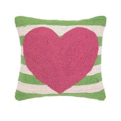 PHI Pink Heart Green Striped Pillow ($46) ❤ liked on Polyvore featuring home, home decor, throw pillows, green throw pillows, pink accent pillows, pink home decor, heart throw pillow and striped throw pillows