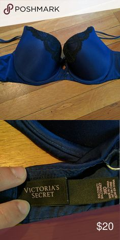 Victoria's Secret blue and lace bra Lightly padded underside bra from Victoria's Secret. Decorative lace on the front makes this bra sexy and elegant. Only worn a few times so in almost new condition. Victoria's Secret Intimates & Sleepwear Bras