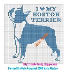 Crochet Living: I Love My Boston Terrier Crochet Chart or Graph Beaded Cross Stitch, Cross Stitch Charts, Cross Stitch Embroidery, Cross Stitch Patterns, Crochet Chart, Free Crochet, Crochet Afghans, Free Knitting, Boston Terrier Love